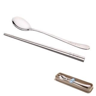 【PUSH!餐具】不銹鋼筷子湯匙環保餐具稻殼盒組A款(E46)