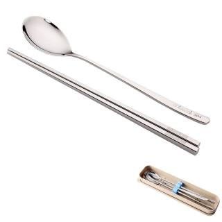 【PUSH!餐具】不銹鋼筷子湯匙環保餐具稻殼盒組C款(E48)