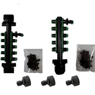 四分外牙轉兩分10孔接頭含10個綠色塞頭中段與末段2組