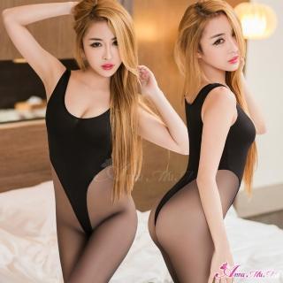【Anna Mu】情趣睡衣 黑色高衩死庫水連身衣   Anna Mu