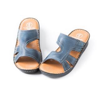 【ALAIN DELON】真皮舒適手工縫線女拖鞋A86003(2色    藍色  紅色)