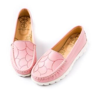【ALAIN DELON】樂活粉嫩真皮舒適休閒鞋A76101(3色    白色  粉色 淺藍色)