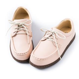 【ALAIN DELON】簡單素面真皮綁帶休閒鞋A76100(3色    黑色  粉色 米色)