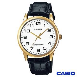 【CASIO卡西歐】休閒時尚簡潔大方數字皮帶腕錶(MTP-V001GL-7B)