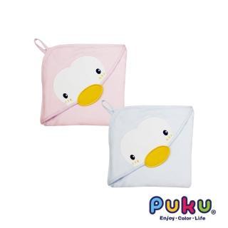 【PUKU藍色企鵝】造型連帽紗布浴巾-75*75cm(粉色)