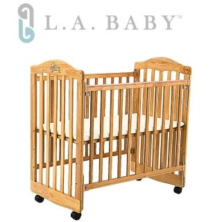 【美國 L.A. Baby】蒙特維爾美夢熊小床嬰兒床/實木/原木床(原木色/白色  適用育嬰 託嬰中心)