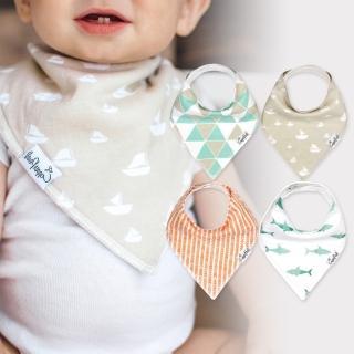 【美國 Copper Pearl】雙面領巾造型圍兜口水巾4件組 - 橘綠幾何帆船鯊魚 ZACP4VDUX(快速到貨)