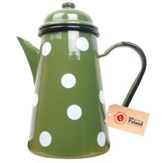 【Emalia Olkusz】琺瑯咖啡壺 1000ml(水玉綠)