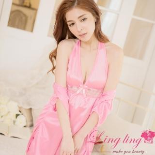 【lingling日系】PA2858全尺碼-繞頸蕾絲V領連身裙睡衣+冰絲蕾絲罩衫二件式睡衣組(迷人深粉)