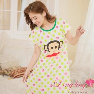 【lingling日系】PA2862全尺碼-點點卡通猴子牛奶絲居家連身裙睡衣(蘋果綠)