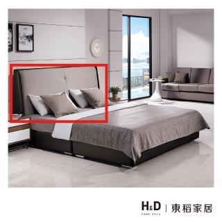 【H&D】伊登深黑色皮革6尺床頭片