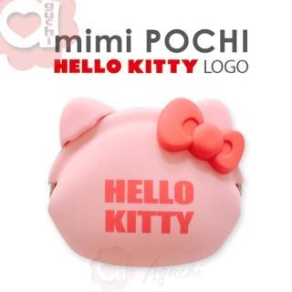 【日本進口 p+g design】mimi POCHI X HELLO KITTY Logo 矽膠零錢包(桃粉紅)