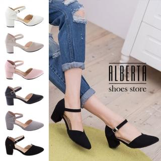 【Alberta】瑪莉珍尖頭鞋 質感皮質舒適繞踝 韓版性感風格 5cm粗高跟鞋(黑絨)