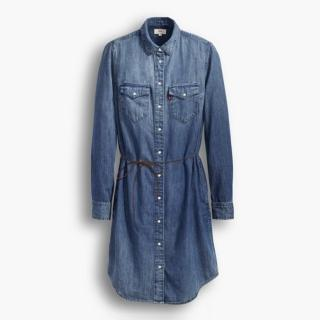 【Levis】女款純棉長袖水洗牛仔洋裝