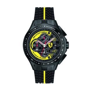 【FERRARI】急速時尚風黑鋼膠帶腕錶(黃x黑/0830078)