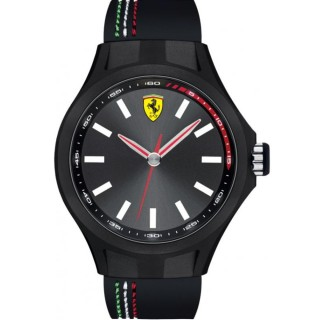 【FERRARI】PPit Crew速度感時尚腕錶/黑灰x橡膠(44mm/0830218)