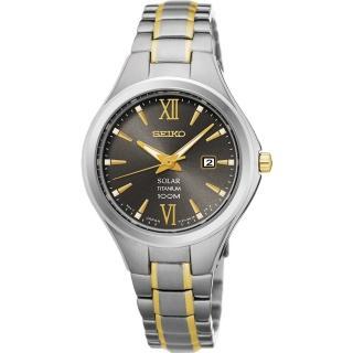 SEIKO 精工 鈦都會太陽能時尚女錶-灰x雙色/30mm