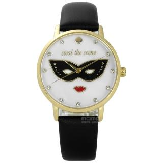 【kate spade】經典紅脣女王真皮手錶 白x金框x黑 34mm(KSW1181)