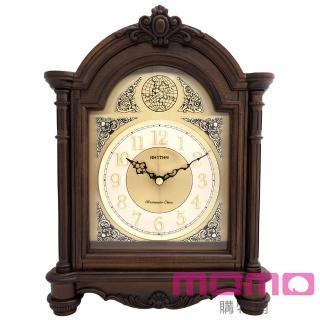 【RHYTHM日本麗聲】典藏歐風整點敲鐘報時實木座鐘(棕色)