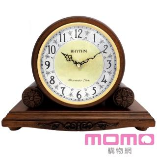 【RHYTHM日本麗聲】古典實木雕花鍍金整點報時座鐘(棕色)
