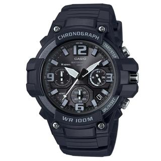 【CASIO】大錶面行家基本配備三眼指針運動錶(MCW-100H-1A3)