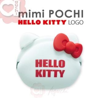 【日本進口 p+g design】mimi POCHI X HELLO KITTY Logo 矽膠零錢包(氣質白)