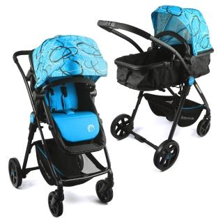 【BabyBabe】超輕量歐式高景觀嬰幼兒手推車(圈圈藍)