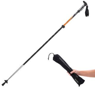 【PUSH!登山用品】國際標准長度135CM鋁合金+碳纖維 四節式登山杖