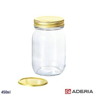 【ADERIA】日本進口多功能雙蓋密封玻璃瓶/果醬罐(450ml)
