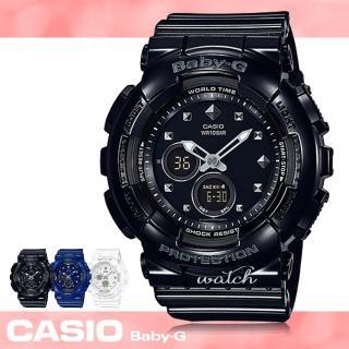 【CASIO卡西歐BABY-G系列】帥氣雙顯型運動錶_女錶_學生錶_防水_LED照明(BA-125 黑)