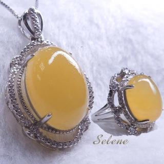 【Selene珠寶】華麗富貴金田黃項鍊套組(買項鍊 送戒指)