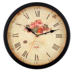 【DeeDa鐘情坊) W81007-1】台製經典熱銷 復古古典黑玫瑰客廳掛鐘 浪漫玫瑰紅鐘面設計(台製 省電 機心)