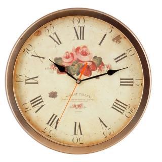 【DeeDa鐘情坊 W81053】復古古銅褐客廳掛鐘 浪漫玫瑰紅鐘面設計(台製省電 機心)
