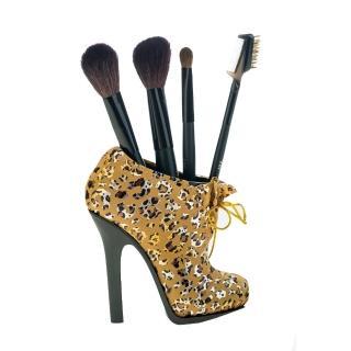 【Galatea葛拉蒂】葛拉蒂高跟鞋刷具收納筒(豹紋金)