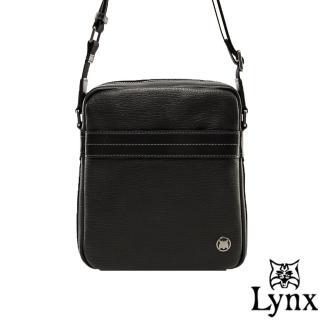 【Lynx】山貓真皮經典款極品型男直式斜背包(小款)