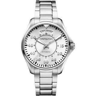 【Hamilton】漢米爾頓 KHAKI AVIATION 飛航運動玩家機械腕錶-銀/42mm(H64615155)
