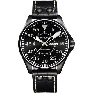 【Hamilton】漢米爾頓 KHAKI AVIATION 飛航運動玩家機械腕錶-黑/46mm(H64785835)