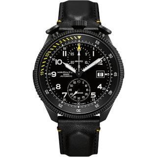 【Hamilton】漢米爾頓 KHAKI AVIATION 限量飛行員機械腕錶-黑/46mm(H76786733)