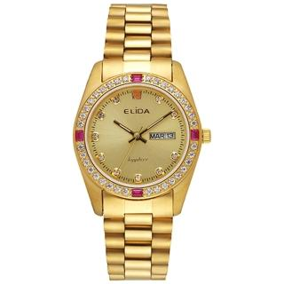 【ELIDA】晶鑽簡約石英鋼帶腕錶(金 EA2900-1DM-KK)