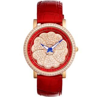【ELIDA】時來運轉六瓣幸運草皮帶錶(EA2918DR-R皮)