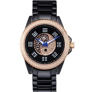 【ELIDA】時來運轉 太極八卦鑲鑽陶瓷錶(黑 EA2988DM-RB)