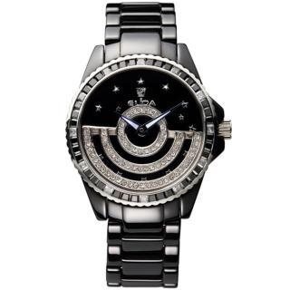 【ELIDA】日月星辰晶鑽旋轉錶盤時尚腕錶(黑 EA2911DM-BB)
