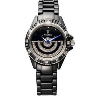 【ELIDA】日月星辰晶鑽 旋轉錶盤時尚腕錶(黑 EA2911DL-BB)