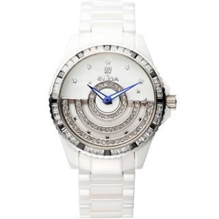 【ELIDA】日月星辰晶鑽 旋轉錶盤時尚腕錶(白 EA2911DM-WW)