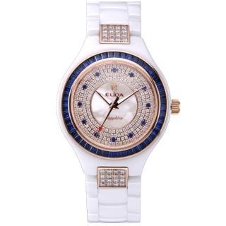 【ELIDA】知性婉約白T鑽E12款陶瓷腕表(藍 EA2912BDM-RW)