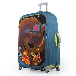 【PUSH! 旅遊用品】俄羅斯娃娃熊行李箱拉桿箱彈力保護套防塵套拖運套  24寸(24寸)