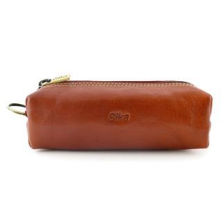 【Sika】義大利素面牛皮經典小品筆袋(A8261-01原味褐)