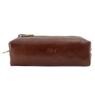 【Sika】義大利素面牛皮復古品味筆袋(A8261-02深咖啡)