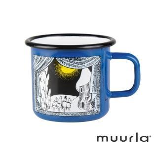 【芬蘭Muurla】嚕嚕米峽谷的冬天琺瑯馬克杯-藍370ml(muurla moomin 嚕嚕米 琺瑯杯 咖啡杯)