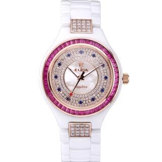 【ELIDA】知性婉約白T鑽E12款陶瓷腕錶(桃 EA2912RDM-RW)